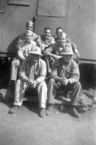 """1st Sgt. Peters, Sgt. Nause, Sgt. Spain, Cpl. Rogers, Lt. Gillroy, Lt. Mauser, Lt. Rogers"""