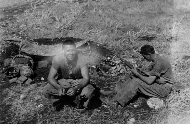 """""""Lt. Beehner, our platoon leader."""" Beehner seems to have inherited command after the original platoon leaders, Lts Waldo Lincoln and James Donovan, were wounded and killed respectively. Reilly concentrates on his rifle."""