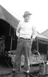 """Horace """"Al"""" Allen, a Charlie Company flamethrower operator, at Camp Maui."""