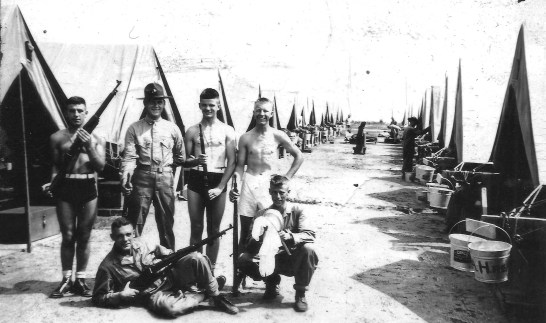 A well-dressed Bill with a group of buddies. Photo not captioned, but probably taken at New River during his brief time with the 1st Marines.
