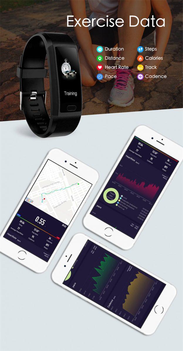 2020 Smart Wristband Fitness Bracelet Blood Pressure Measurement Smart Bracelet Heart Rate Waterproof Pedometer Smart Band Watch