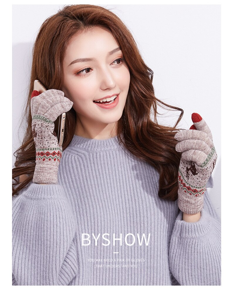 Knitted touch screen gloves little elk ladies autumn and winter warm wool plus velvet thickening outdoor riding running gloves