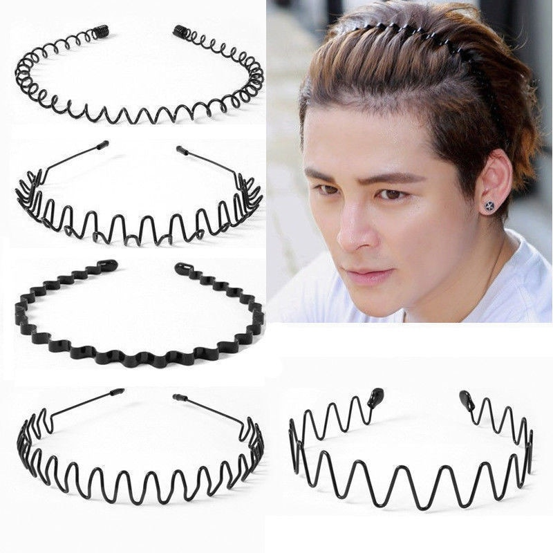 Fashion Black Metal Waved Style Alice Sports Hairband Solid Men Women Unisex Hair Band Casual Adult Headwear 5 Styles