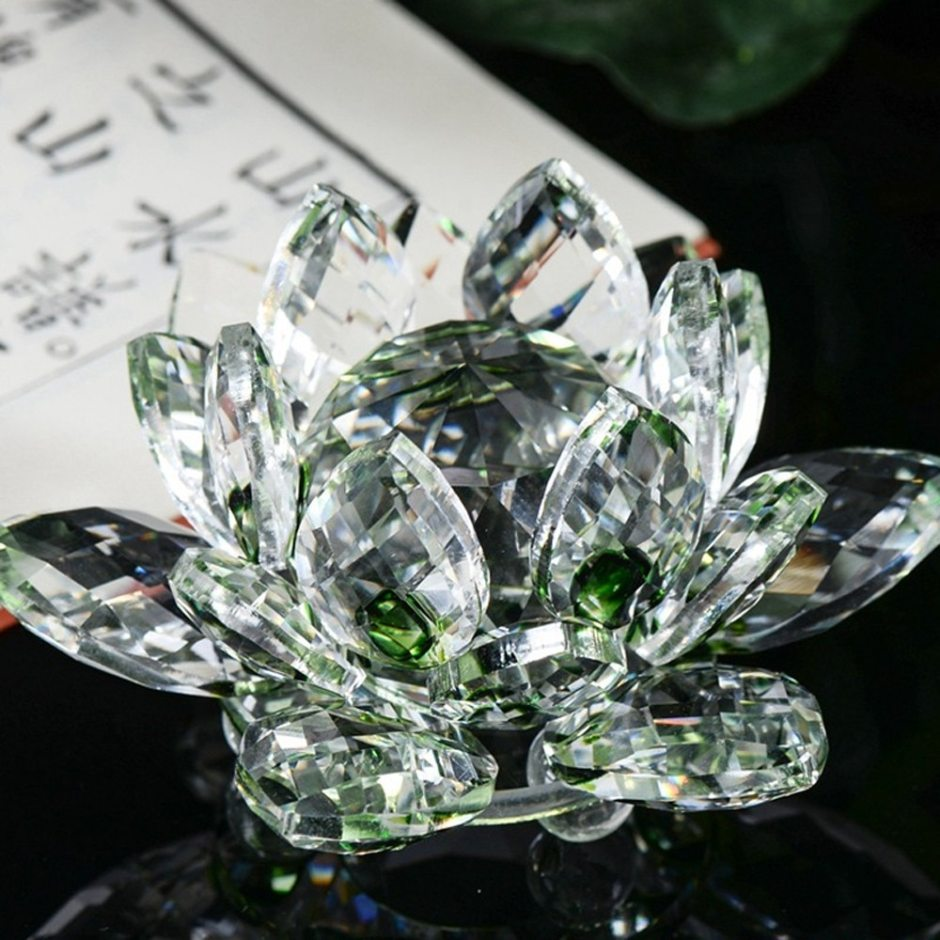Lotus Crystal Glass Figure Paperweight Ornament Feng Shui Decor Collection Vintage Home Decor Accessories Craft Figurine #10