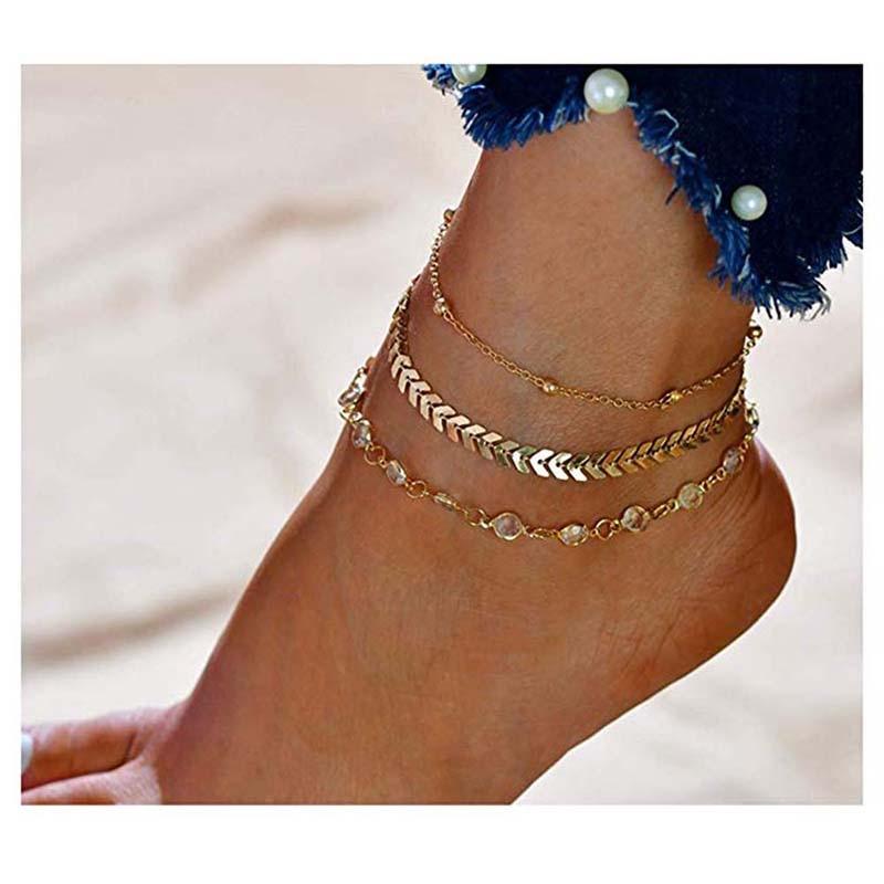 Crystal Anklet Barefoot Vintage Handmade Multi-layer Ankle Bracelet Chain For Women