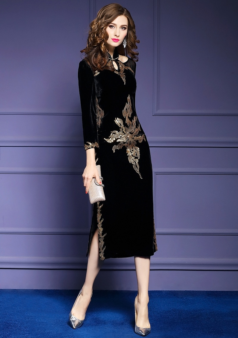Autumn ladies party long Embroidery dress