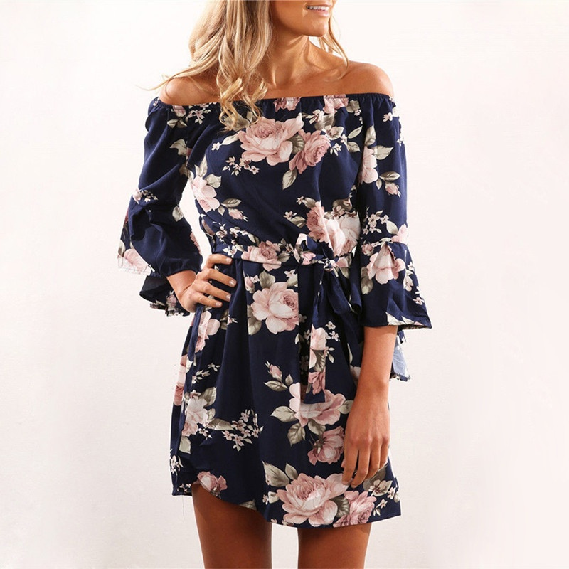 Women's Boho Off Shoulder Floral Printed Dress