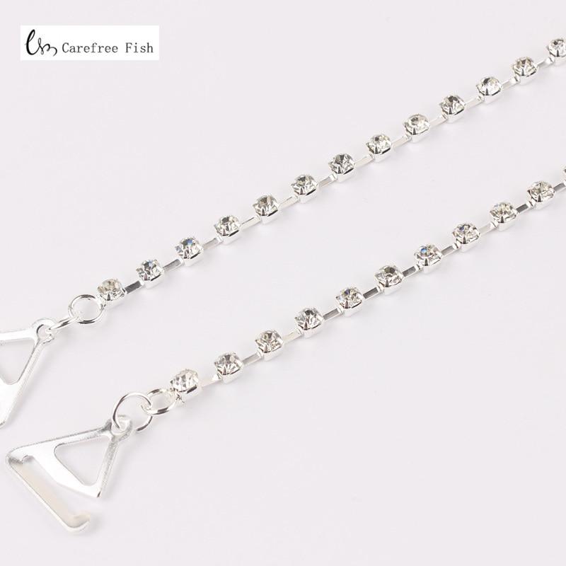 New Sexy Women's Ladies Adjustable Crystal Diamante Rhinestone Bra Shoulder Straps Nice 1 Pair