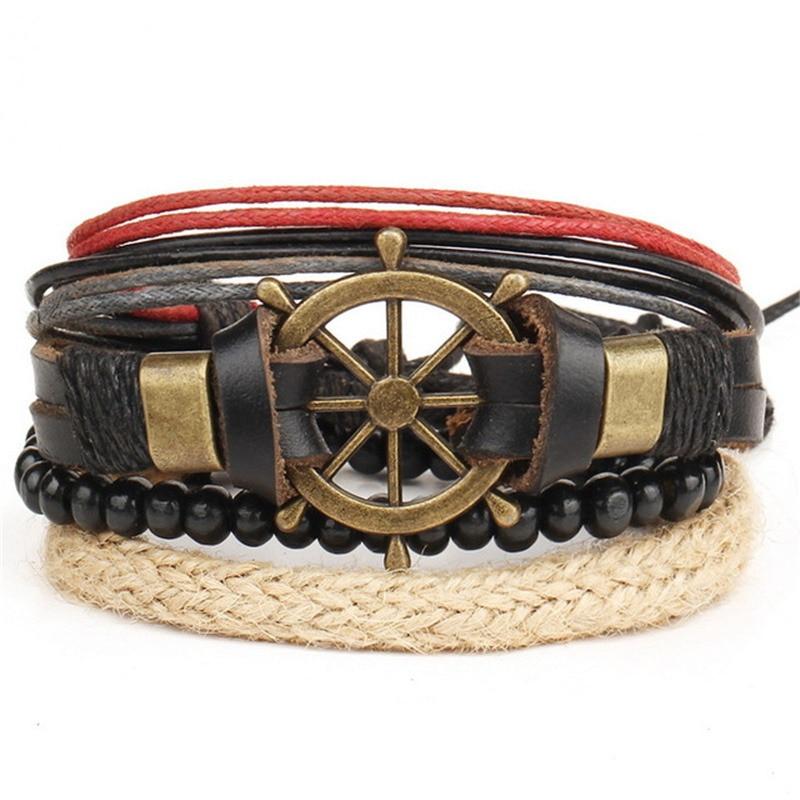 HOT 4pcs(3pcs) 1Set Punk Pure Packaging Eye Bracelet Men's Women's Leather Bracelet Retro Rudder Accessory Wholesale