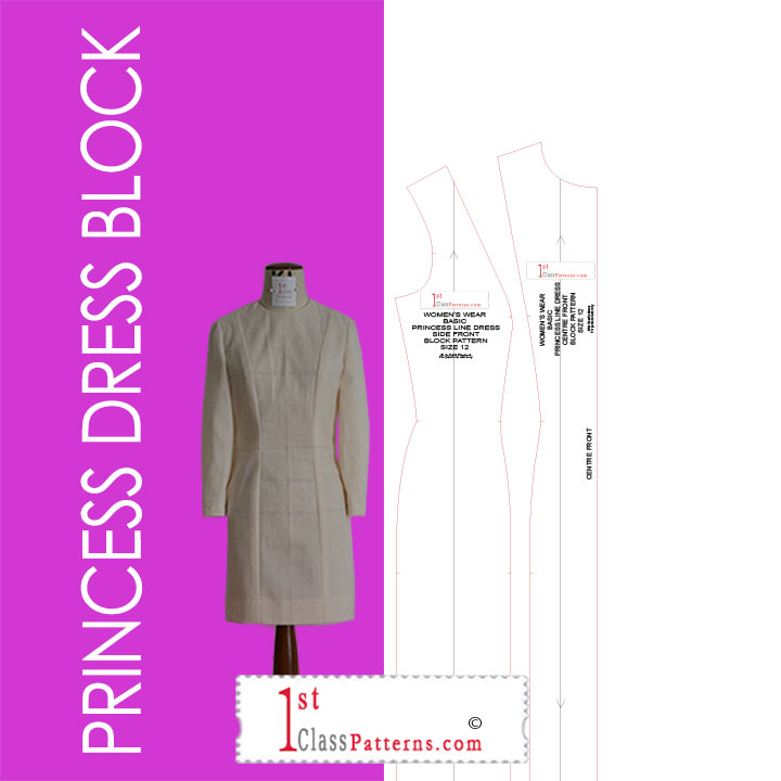 princess line dress digital block pattern