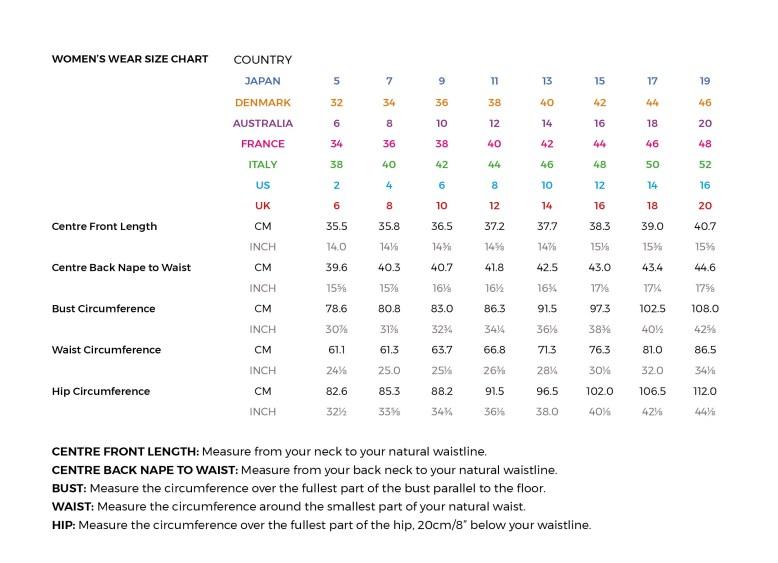 Digital clothing block patterns size chart