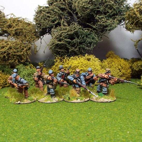 28mm ameican civil war skirmishers wearing kepi