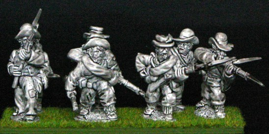 Skirmish line in slouch.