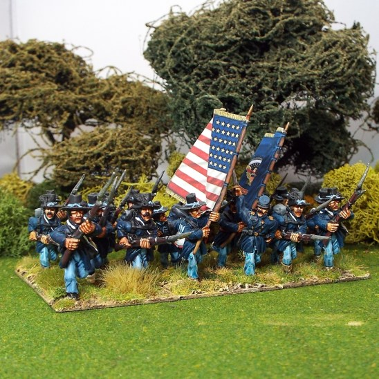 28mm Iron brigade. Advancing/charging
