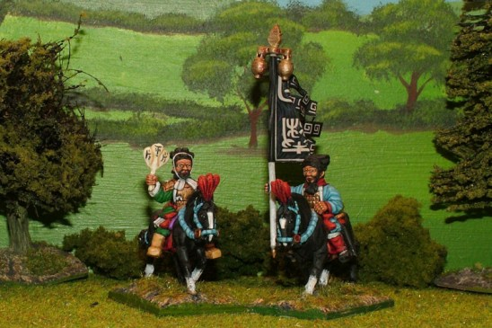 28mm warring states chinese Mounted General and Standard Bearer.