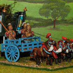 28mm ancient chinese 4 Horse Heavy Chariot with 3 crew. Advancing horses.