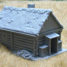 Large cabin with thatch roof and porch