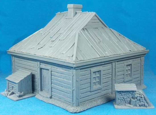 Double-room log cabin with shingle roof