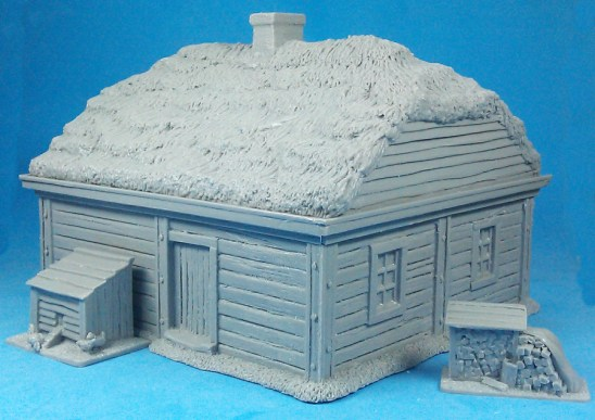 Double-room log cabin with thatch roof