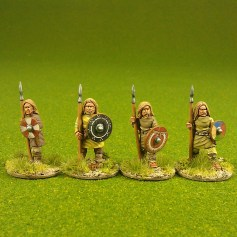 Geoguth ,(Young warriors) standing, bareheaded, spears(4)