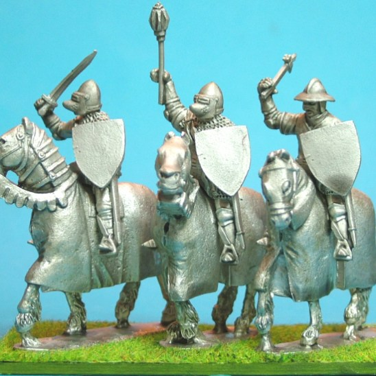 Mounted Knights, sword arm raised barded horses III