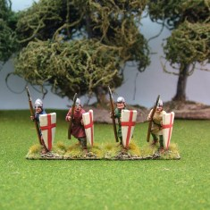 ME33a Spearmen wearing nasal bar and skull cap helmets.
