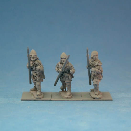 ME41a Spearmen in mail wearing nasal bar and skull cap helmets.