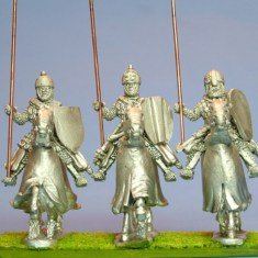 28mm Eastern Eorope Mounted Knights 1, scale-lamellar, lance upright, charging barded horses.