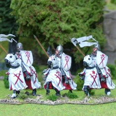 28mm Eastern Europe Eastern Mounted Knights 2 Wearing mail with couched lance. Riding charging barded horses. Livonian Brothers of the Sword Shields, banners and heraldic transfers by Battle Flag
