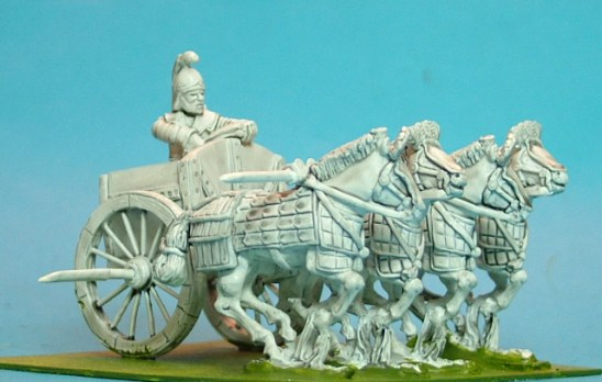 4 horse sythed chariot