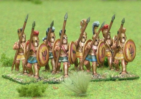 Hoplite, bell cuirass, advancing.