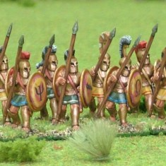 28mm Hoplite, bell cuirass, advancing.