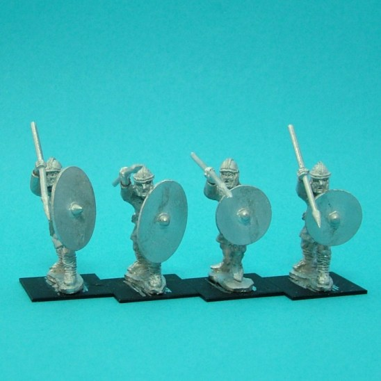 Warriors, unarmoured, attacking, helmets, spears (4)