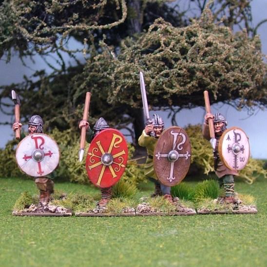 28mm Romano British Warriors, unarmoured, attacking, helmets, handweapons (4)