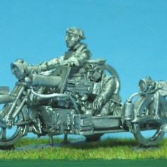 Motorbike with s/car and Vickers mg
