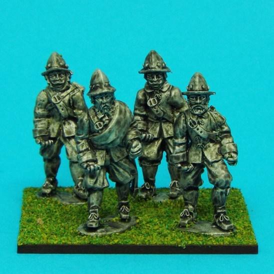 28mm english civil war unarmored pikemwen wearing morion helmet