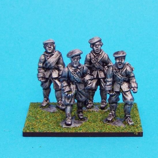 28mm english civil warunarmoured pikemen wearing bonnet.