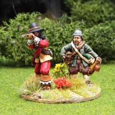 28mm english civil war artillery officer with telescope and assistant