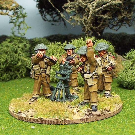 "28mm ww2 british 3"" mortar and 4 crew"