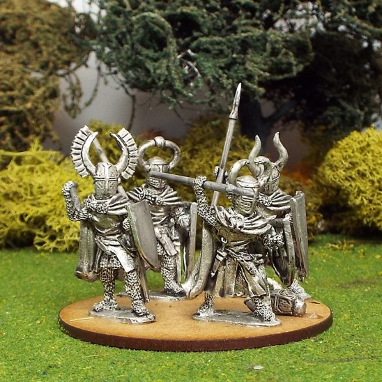 28mmTeutonic Foot knights with spears attacking wearing Cloaks