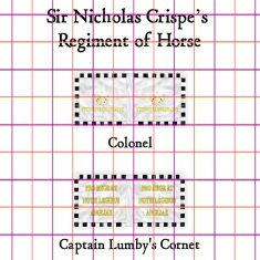 28mm English Civil War Cavalry Flags Sir Nicholas Crispes regiment of Horse.