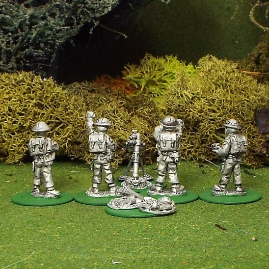 "28mm BEF 3"" Mortar with 4 crew."