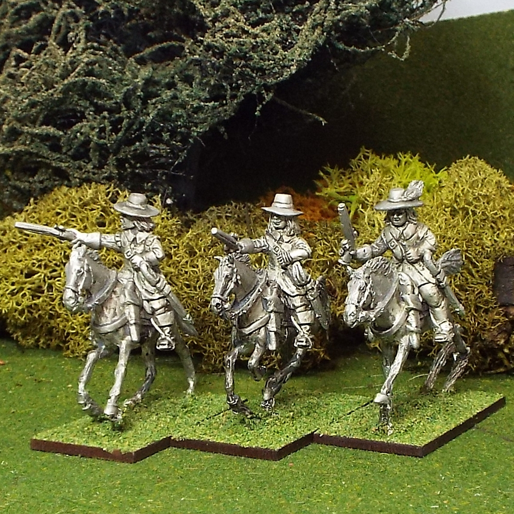 ECW Troopers with Pistols, Buff Coat, Brimmed Hat, Galloping Horses.