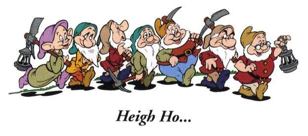 The seven Dwarfs from Walt Disney.