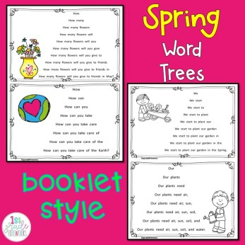 Spring Word Trees for reading fluency.  Whole page or booklet style.Updated with extensions.