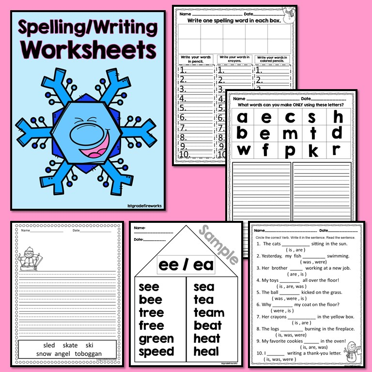 When Snowmen Go To School Spelling & Writing Worksheets