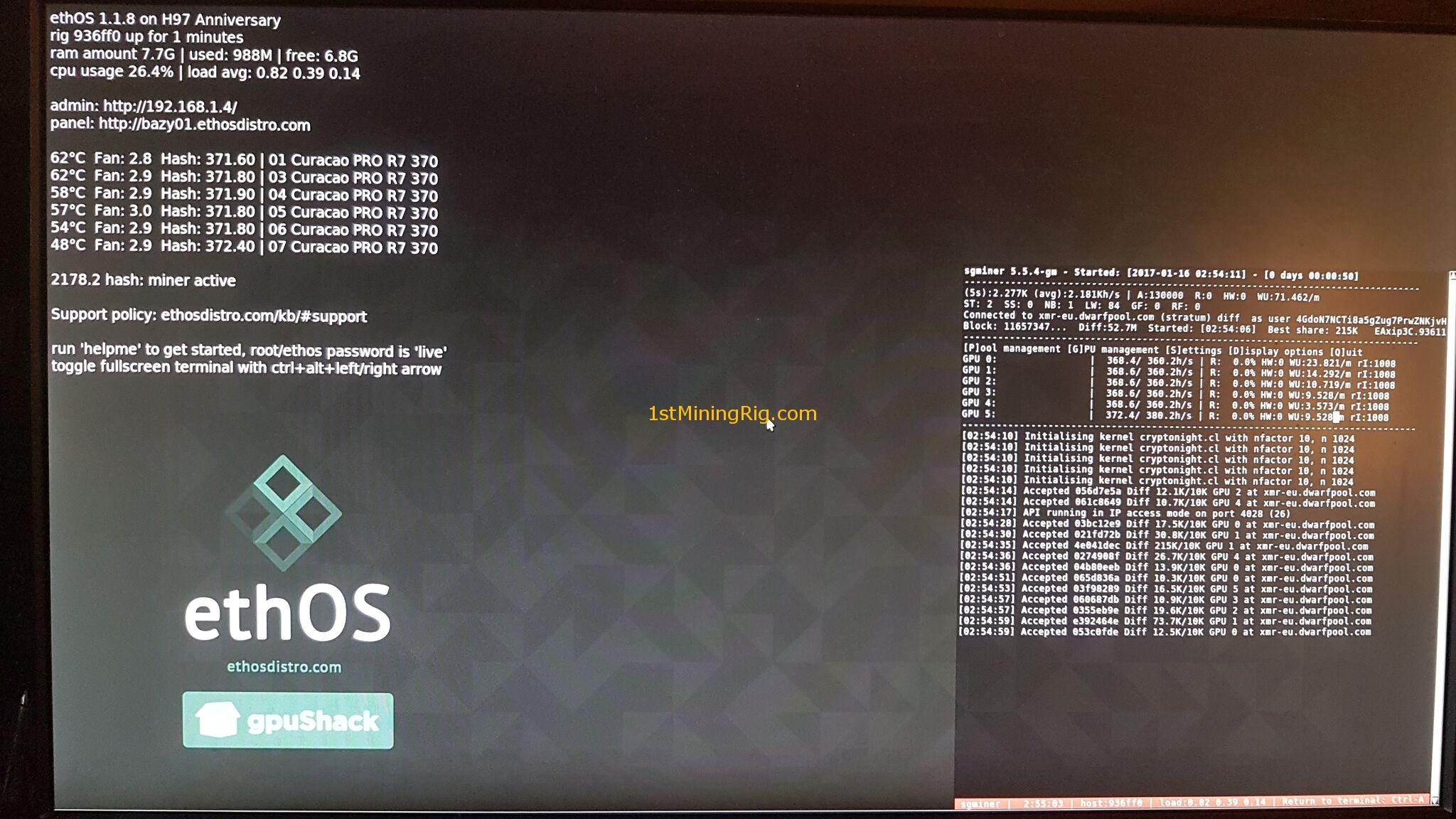 Monero Mining Rig (XMR) - Asus Strix AMD Radeon R7 370 4GB