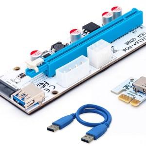New-White-PCI-E-Riser-008-Express-1X-4x-8x-16x-Extender-PCI-E-USB-Riser