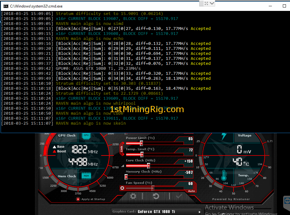 cryptocurrency mining on a 1080