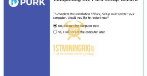 Purk GUI Wallet install restart